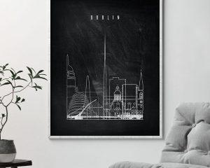 Dublin chalkboard black white skyline print second