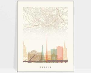 Dublin map print poster pastel cream