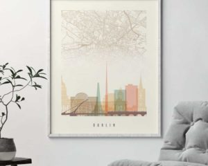 Dublin map print poster pastel cream second