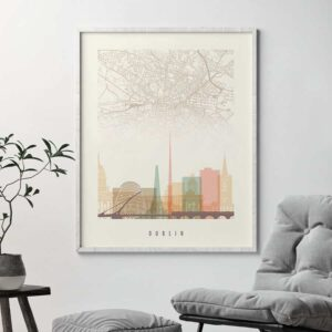 Dublin map print poster pastel cream second