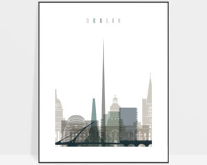Dublin art print skyline earth tones 4