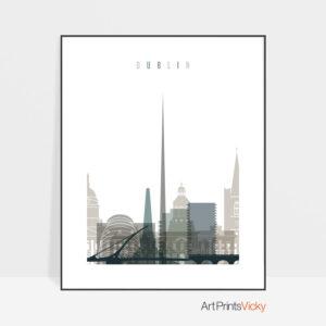 Dublin art print skyline earth tones 4