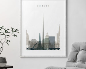 Dublin art print skyline earth tones 4 second