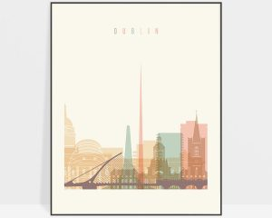 Dublin art print skyline pastel cream