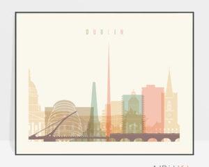 Dublin travel poster pastel cream landscape