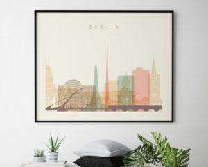 Dublin travel poster pastel cream landscape second