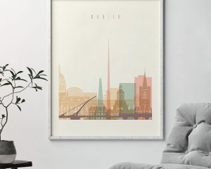 Dublin art print skyline pastel cream second