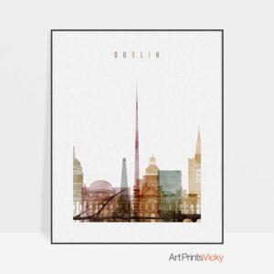 Dublin skyline print watercolor 1