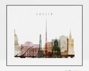 Dublin city print watercolor 1 landscape