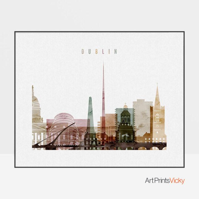 Dublin city print watercolor 1 landscape