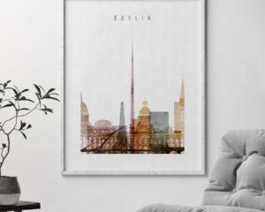 Dublin skyline print watercolor 1 second