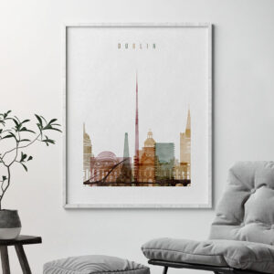 Dublin skyline print watercolor 1 second