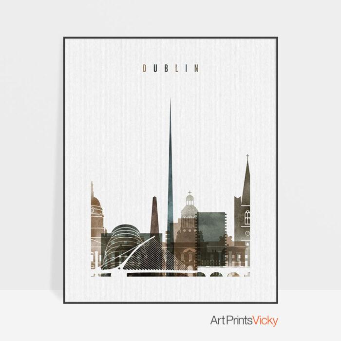 Dublin skyline poster watercolor 2