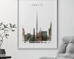 Dublin skyline poster watercolor 2 second