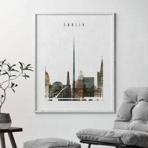 Dublin skyline poster watercolor 2 second