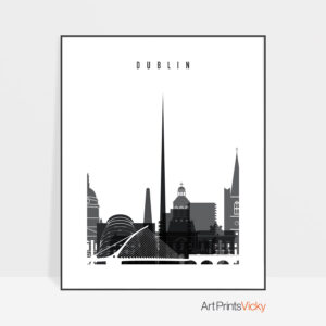 Dublin Black and White Skyline Poster