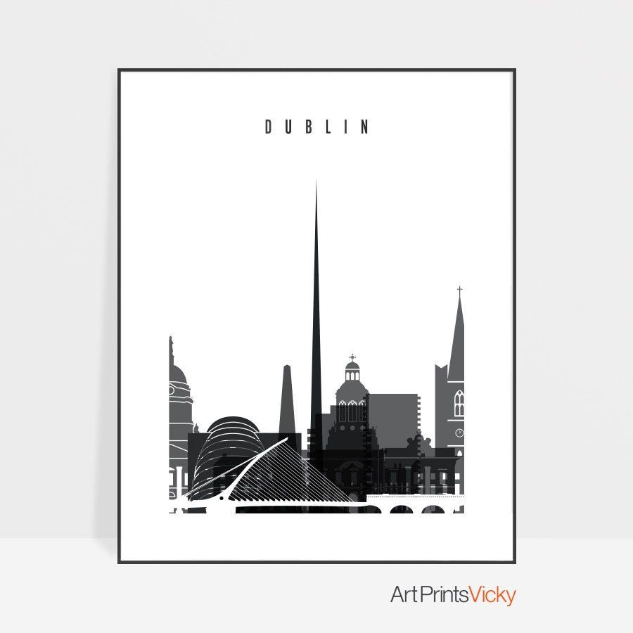 Dublin Black and White Skyline Poster