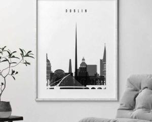 Dublin black and white skyline poster second