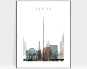 Dublin skyline poster distressed 1