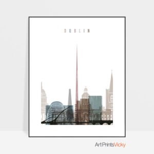 Dublin skyline poster distressed 1