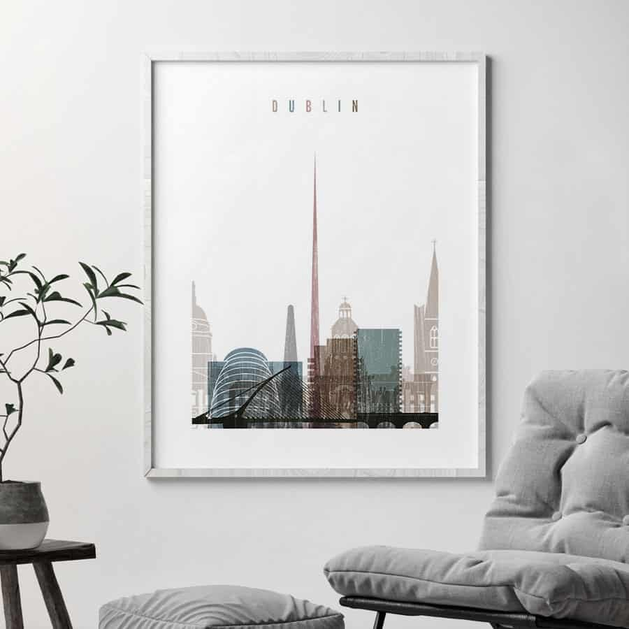 Dublin skyline poster distressed 1 second