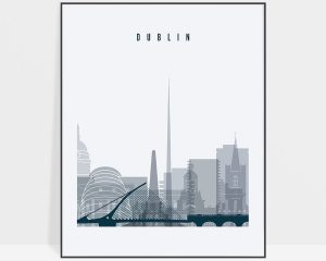 Dublin skyline poster grey blue