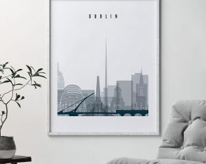 Dublin skyline poster grey blue second