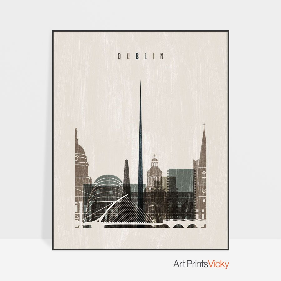 Dublin skyline print distressed 2