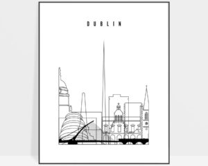 Dublin art print black and white