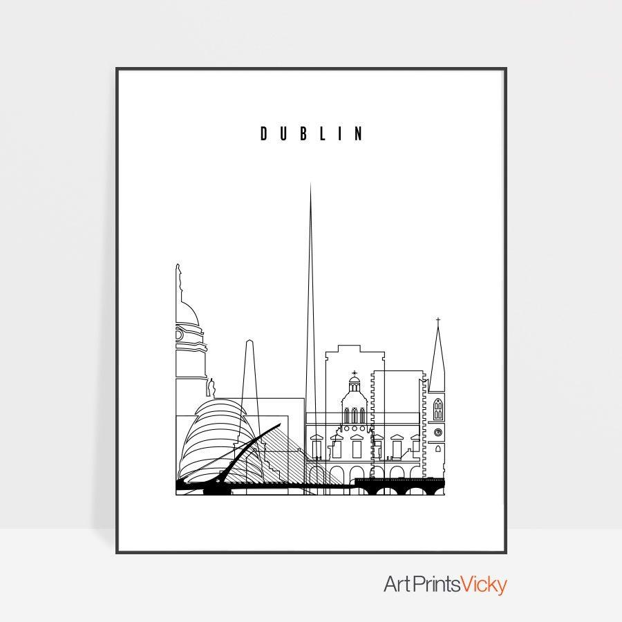 Dublin art print black and white