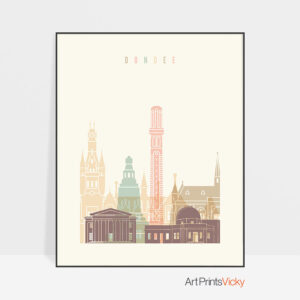 Dundee art print skyline pastel cream