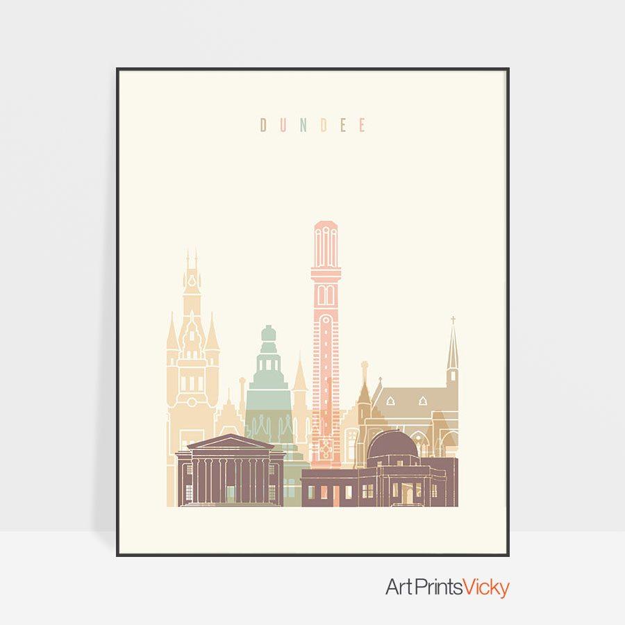 Dundee art print skyline pastel cream