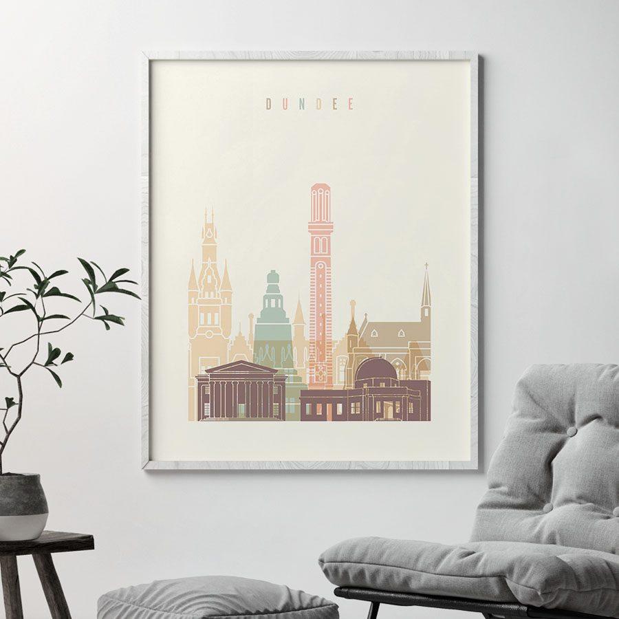 Dundee art print skyline pastel cream second
