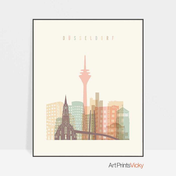Dusseldorf art print skyline pastel cream