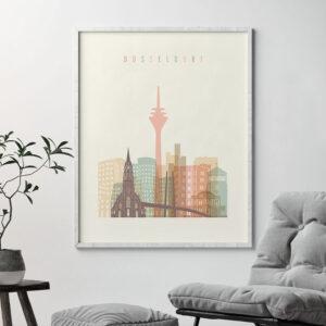 Dusseldorf art print skyline pastel cream second