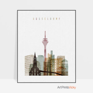 Dusseldorf skyline print watercolor 1