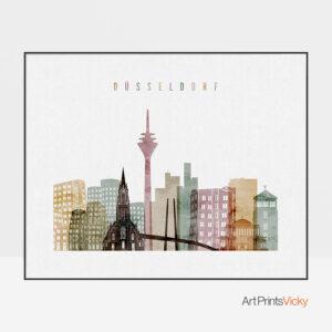 Dusseldorf skyline poster watercolor 1 landscape