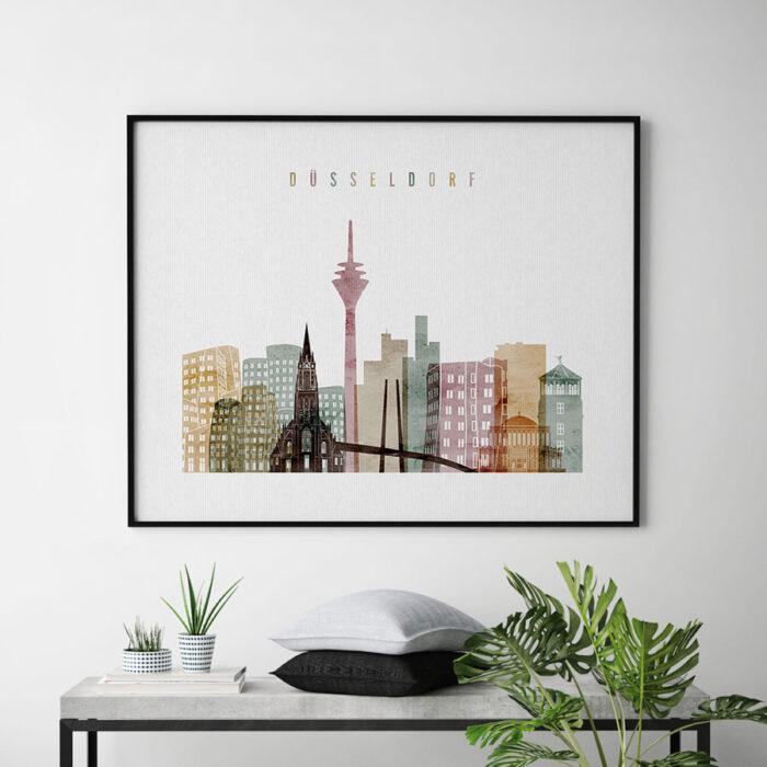 Dusseldorf skyline poster watercolor 1 landscape second