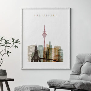 Dusseldorf skyline print watercolor 1 second