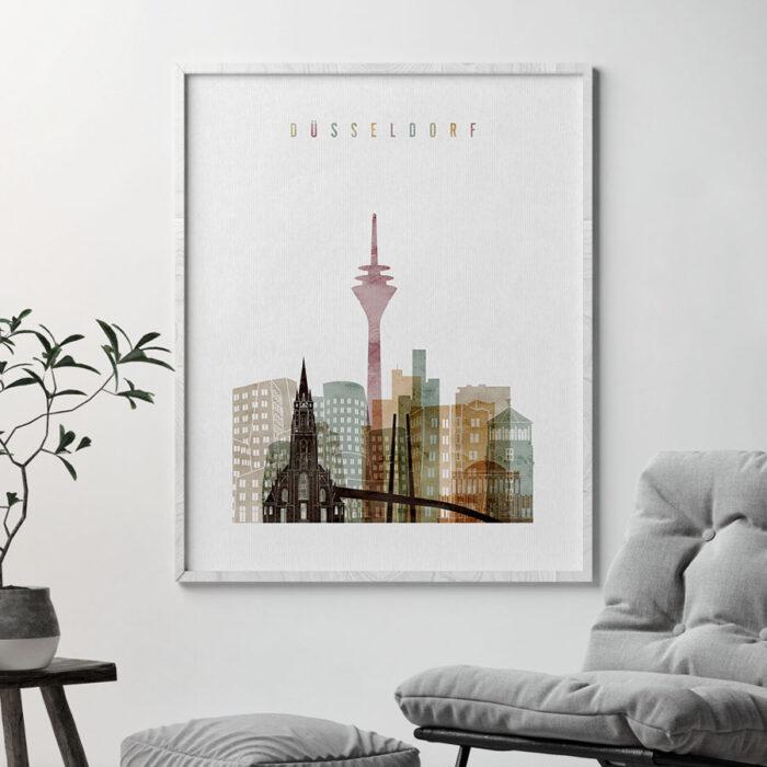 Dusseldorf skyline print watercolor 1 second