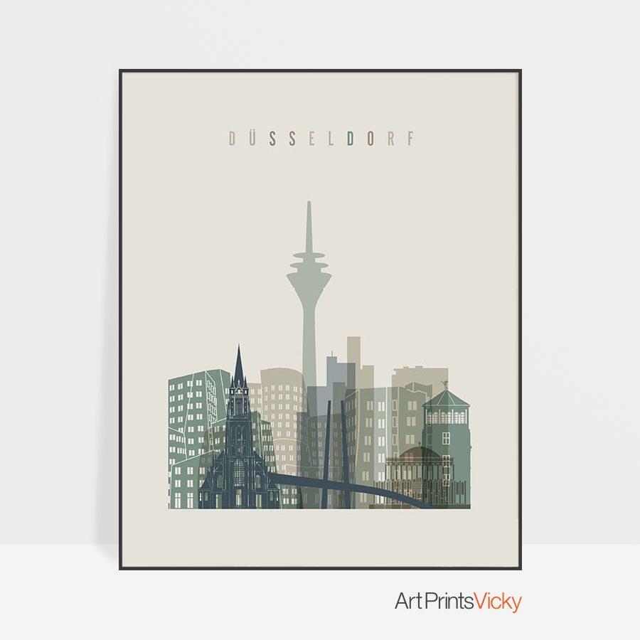 Dusseldorf print skyline earth tones 1