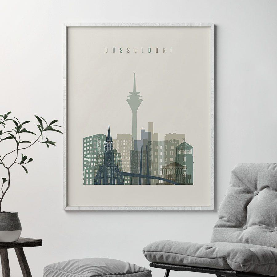 Dusseldorf print skyline earth tones 1 second