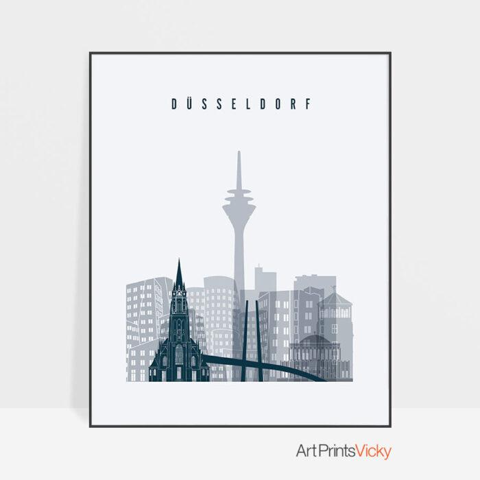 Dusseldorf skyline poster grey blue
