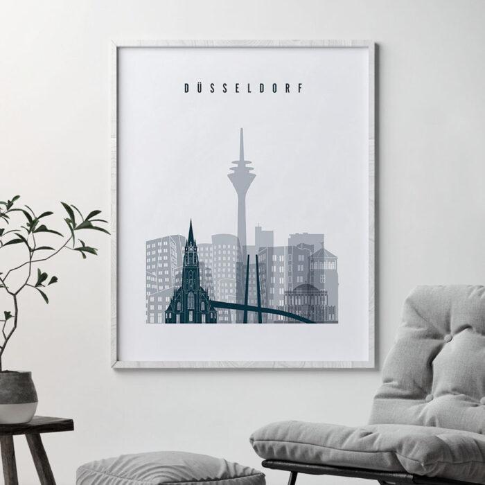 Dusseldorf skyline poster grey blue second