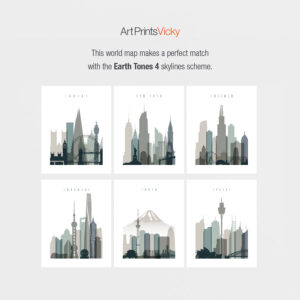 Earth tones 4 skylines world map match