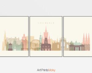Edinburgh cream pastel skyline set of 3 prints