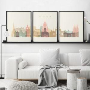 Edinburgh cream pastel skyline set of 3 prints second