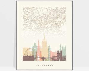 Edinburgh map print poster pastel cream
