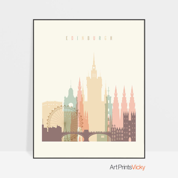 Edinburgh art print skyline pastel cream