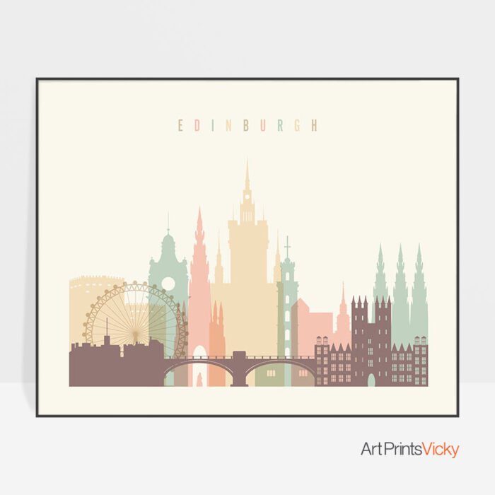 Edinburgh travel poster pastel cream landscape